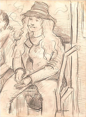 Girl With Coat Drawing - Girl On A Train by Al Goldfarb