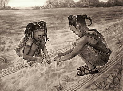 Religious Drawing - Grandma's Sand by Curtis James