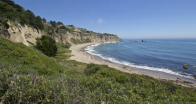 Greyhound Rock Beach Panorama - Santa Cruz - California Art Print by Brendan Reals