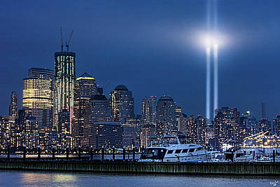 Ground Zero Tribute Lights And The Freedom Tower Art Print by Chris Lord