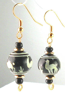 Jewelry - Hand Painted Ceramic Peruvian Llama Beaded Earrings by Vagabond Folk Art - Virginia Vivier