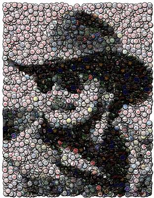 Hank Williams Jr. Bottle Cap Mosaic Art Print by Paul Van Scott