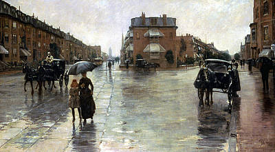 Hassam: Rainy Boston, 1885 Art Print by Granger