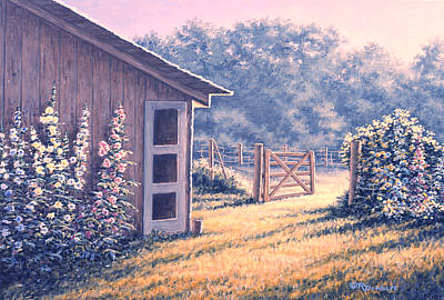 Shed Painting - Holly Hocks by Richard De Wolfe