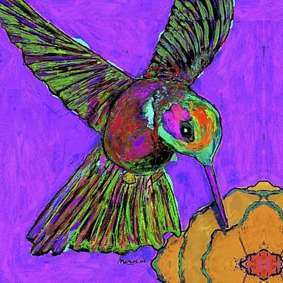 Hummingbird Painting - Hummingbird On Purple by Dale Moses