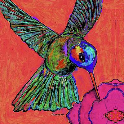Hummingbird Painting - Hummingbird On Red by Dale Moses