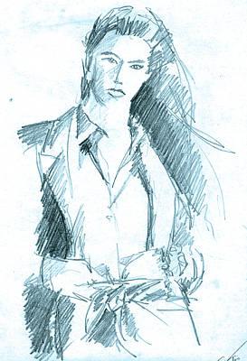 Drawing - Icy Blue Woman by John Keaton