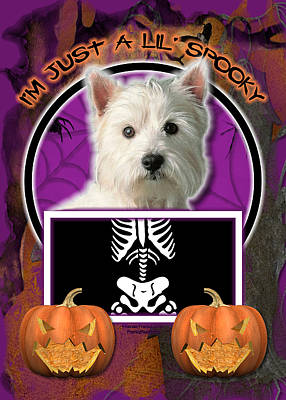Terrier Digital Art - I'm Just A Lil' Spooky Westie by Renae Laughner