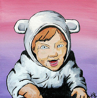 Toddler Portrait Painting - In My Animal Suit by Jera Sky