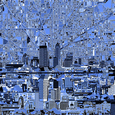 Abstract Skyline Royalty-Free and Rights-Managed Images - Indianapolis Skyline Abstract 7 by Bekim M