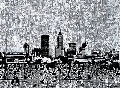 Abstract Skyline Royalty-Free and Rights-Managed Images - Indianapolis Skyline Abstract 9 by Bekim M
