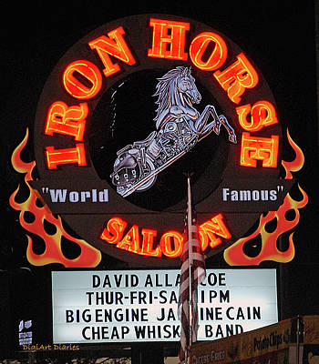 Flag Pole Digital Art - Iron Horse Saloon Sign At Night by DigiArt Diaries by Vicky B Fuller