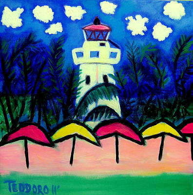 Painting - Isla Mujeres Lighthouse by Ted Hebbler