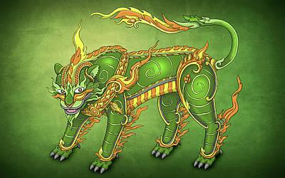 Asian Tiger Digital Art - Jade Tiger by Adam Spencer