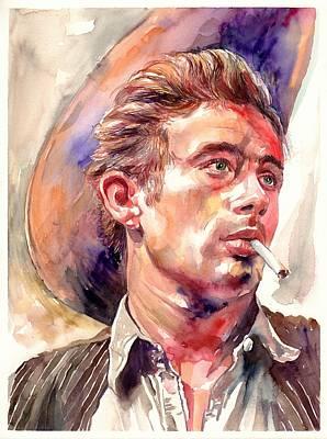 Contemporary Cowboy Painting - James Dean Portrait by Suzann's Art