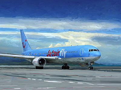 Painting - Jetairfly Boeing 767 In Costa Rica by Nop Briex