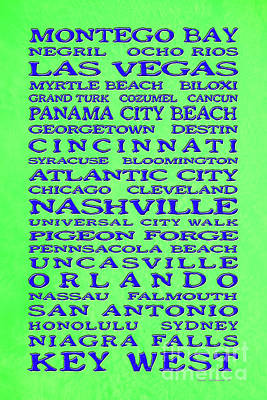 Royalty-Free and Rights-Managed Images - Jimmy Buffett Margaritaville Locations Blue on Lime Green by John Stephens