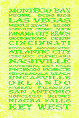Hood Ornaments And Emblems - Jimmy Buffett Margaritaville Locations Green on Yellow Parchment by John Stephens
