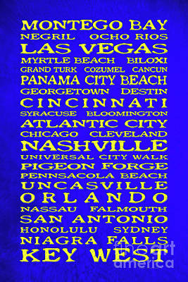 Royalty-Free and Rights-Managed Images - Jimmy Buffett Margaritaville Locations Yellow on Blue by John Stephens