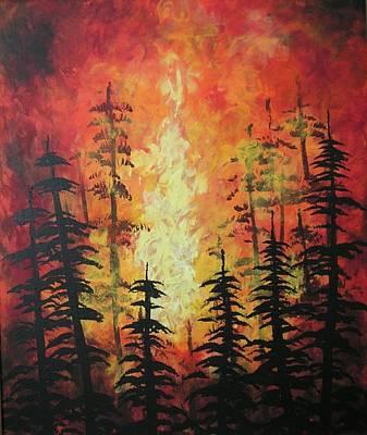 Wildfire Painting - Kelowna Wild Fires  Original Acrylic Contemporary Painting By Jordanka Yaretz by Jordanka Yaretz