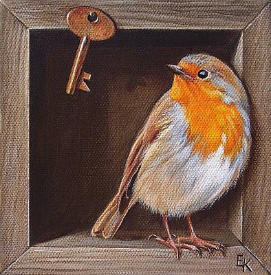 Boxes Painting - Key Guardian by Elena Kolotusha