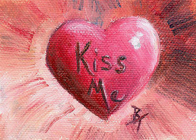 Painting - Kiss Me Aceo by Brenda Thour