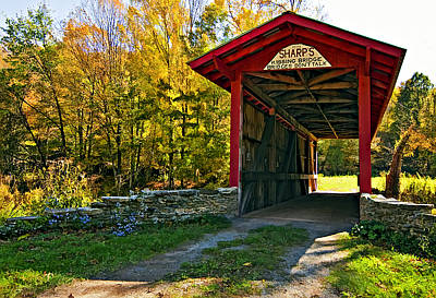 Autumn Landscape Digital Art - Kissing Bridge Painted by Steve Harrington