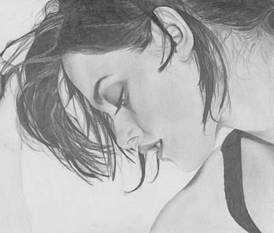 Eclipse Drawing - Kristen Stewart by Maria Johnson