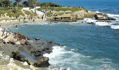 La Jolla Cove Painting - La Jolla Cove - Early Morning Swim by Russ Harris