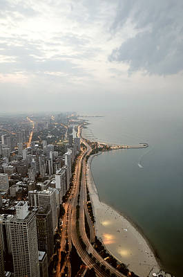 Lake Michigan And Chicago Skyline. Art Print by Ixefra