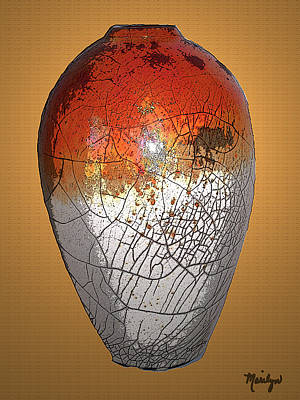 Raku Digital Art - Large Raku Pottery by Marilyn Atwell