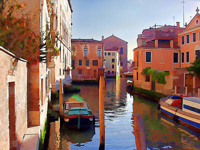 Computer Art Painting - Late Afternoon In Venice by Elaine Plesser