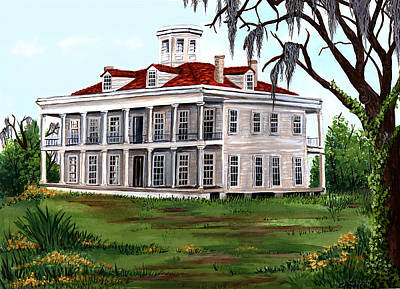 Spanish Moss Painting - Lebeau Plantation by Elaine Hodges
