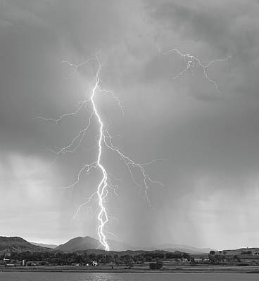 Lightning Bolts Photograph - Lightning Strike Colorado Rocky Mountain Foothills Bw by James BO  Insogna