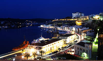 Art Print featuring the photograph Mahon Harbour At Night by Pedro Cardona