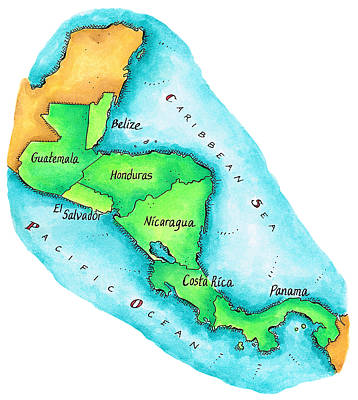 Caribbean Sea Digital Art - Map Of Central America by Jennifer Thermes