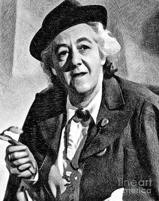 Musicians Drawings - Margaret Rutherford, Vintage Actress by JS by Esoterica Art Agency