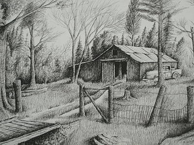 Old Barn Drawing - Ma's Barn And Truck by Chris Shepherd