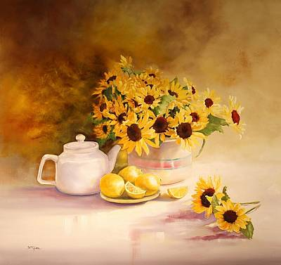 Mccoy Painting - Mccoy Teapot And Sunflowers by Diana  Tyson