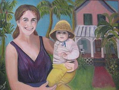 Painting - Me And Baby Sarah by Mary Hollinger