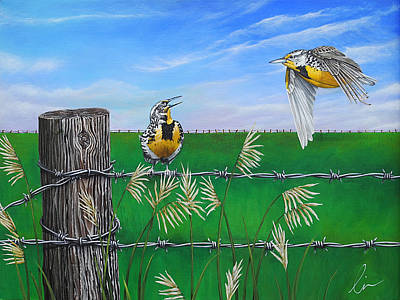 Larks Painting - Meadow Larks In The Field by Cindy D Chinn