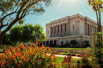 Lds Temple Photograph - Mesa Temple Sun Glow by La Rae  Roberts