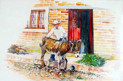 Mexicano Painting - Mexico-el Burrito by Estela Robles