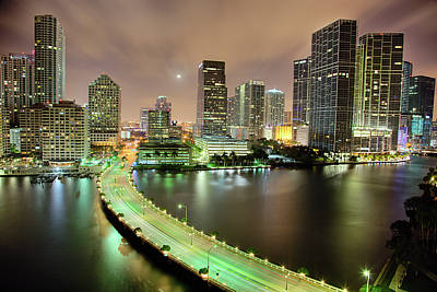 Night Moon Photograph - Miami Skyline At Night by Steve Whiston - Fallen Log Photography