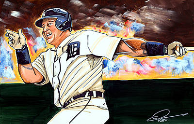 Baseball Drawing - Miguel Cabrera  by Dave Olsen
