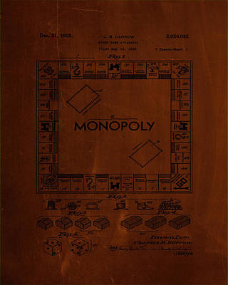 Board Game Mixed Media - Monopoly Board Game Patent Drawing 1b by Brian Reaves