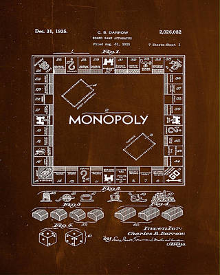 Board Game Mixed Media - Monopoly Board Game Patent Drawing 1e by Brian Reaves