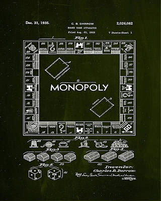 Board Game Mixed Media - Monopoly Board Game Patent Drawing  by Brian Reaves