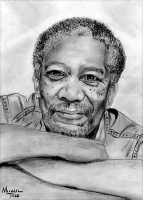 Portaits Drawing - Morgan Freeman by Mike Todd
