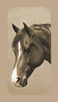 Chestnut Horse Painting - Morgan Horse Phone Case In Sepia by Crista Forest